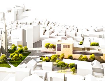 3D Visualisierung Wettbewerb Bibliothek Heidenheim Vogelperspektive