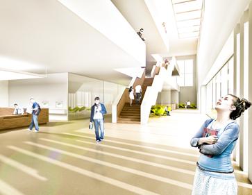 3D Visualisierung Wettbewerb Bibliothek Heidenheim Foyer