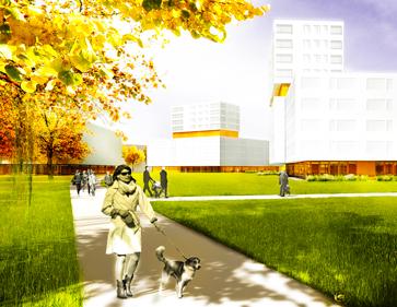 3D Visualisierung Wettbewerb Städtebau Wohnquartier Boschetsrieder Straße, München