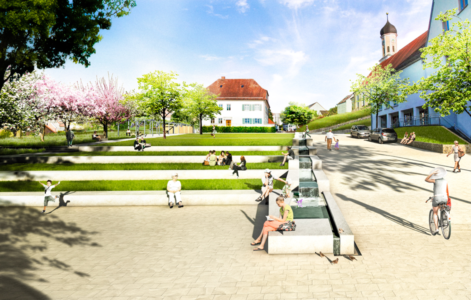 Landschaftsarchitektur Dorfplatz Zusmarshausen