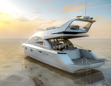Produktvisualisierung Luxus Yacht, Abendstimmung