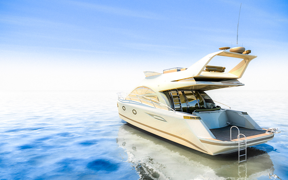 Produktvisualisierung Luxus Yacht Gold