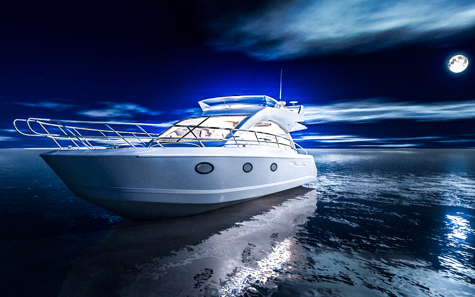 Produktvisualisierung Luxus Yacht Nacht