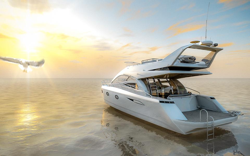 Produktvisualisierung Luxus Yacht Abend