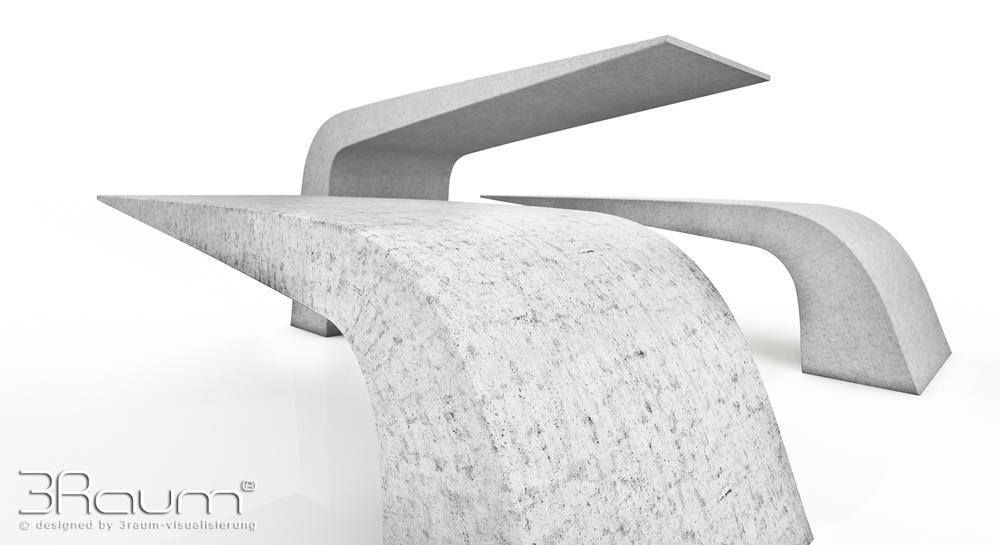Produktvisualisierung Moebeldesign, Bank Beton