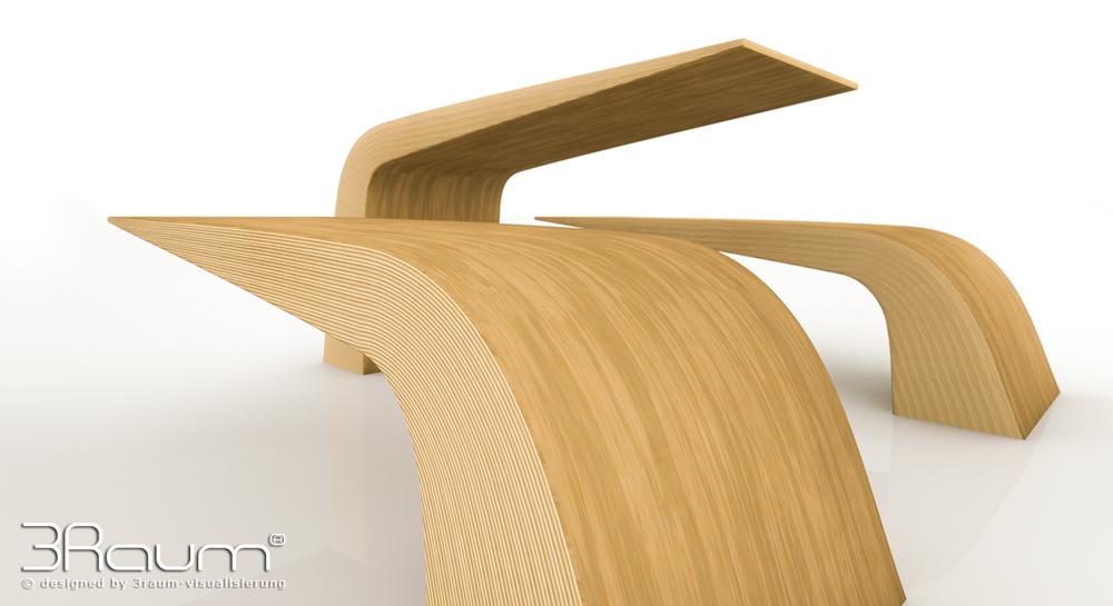 Produktvisualisierung Möbeldesign, Bank Holz