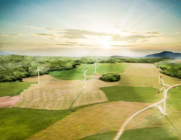 3D Visualisierung Windrad und Windkraftanlage, Vogelperspektive