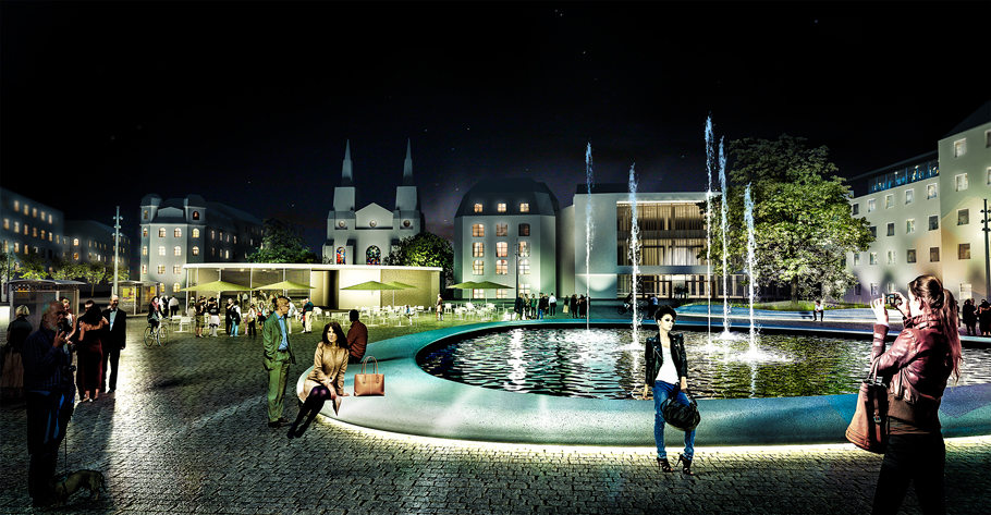 Landschaftsarchitektur Augustaplatz bei Nacht